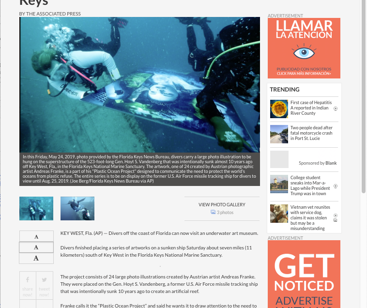 """Divers can view underwater art museum off Florida Keys"" by ""cw34.com"""