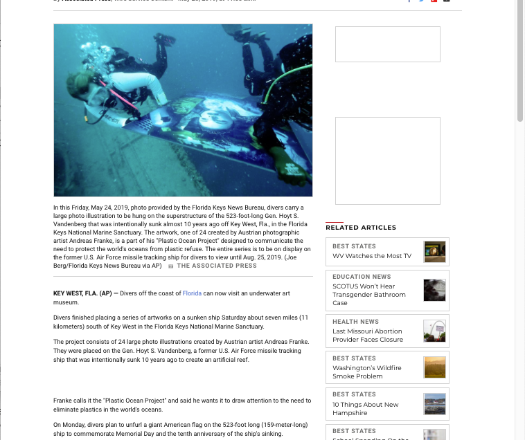 """Divers can view underwater art museum off Florida Keys"" by ""us news.com"""